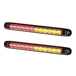 2x LED multifunzionale laterale + stop + indicatore di direzione 12V 24V e-contrassegnato coda lunga lampada Bus camion rosso arancione ambra marcatore Break impermeabile IP 68