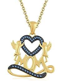 "Silvernshine 1.35 Ct Aquamarine Mom Heart Pendant 18"" Chain Necklace In 14K Yellow Gold Fn"