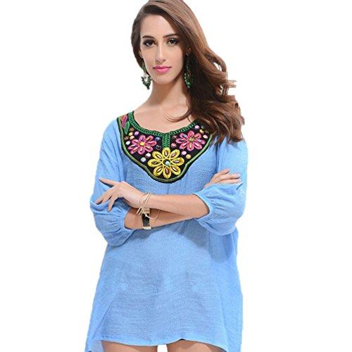 WanYang Donna Manica 3/4 Allentata Casuale Camicetta Supera la Maglietta Colletto Tondo 3/4 Manica Bluse Donna Azzurro
