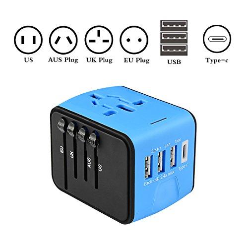 Adaptador de viaje universal todo en uno Cargador de adaptador de viaje único para 150 países en todo el mundo Uso con 3 x USB, 1 x Typec