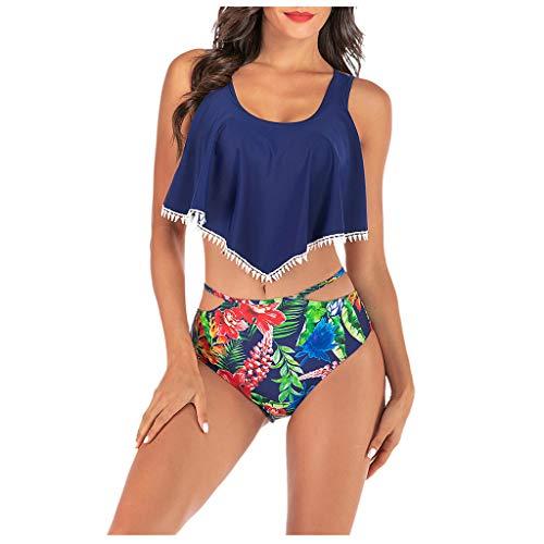 Refill_ bikini-Sets für Damen, Damen Bikini Set Hohe Taille Bademode Zweiteilige Strandmode Badeanzug mit Volant Bikini Oberteil und Bikinihose -