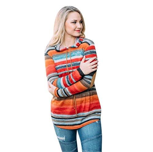 Damen Kapuzenpullover Hoodie Sweatshirt Langarm Hoodie Gestreifte Bluse Sweatshirt Pullover Tops (Orange-Sexy, S) (Top Gestreifte Hoodie)