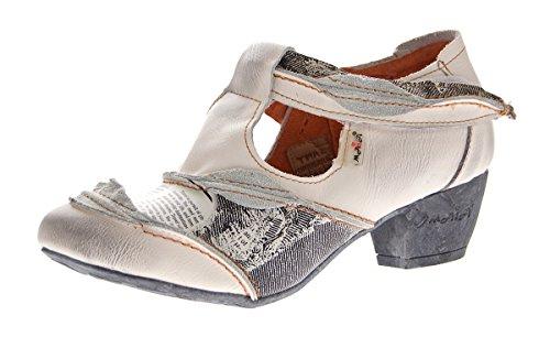 TMA Leder Damen Spangen Pumps Echt Leder Comfort Schuhe TMA 6716 Halbschuhe Weiß Gr. 40