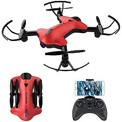 ATOYX Drone avec Caméra AT146 Drone Pliable Hélicoptère Télécommande WiFi avec Mode sans Tête, Induction de Gravité, Maintien d'altitude, Jouet et Cadeau pour Enfant/Débutant/Adulte - Rouge