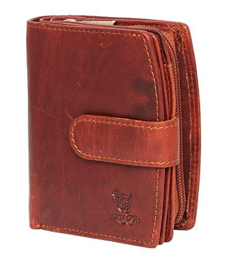 MATADOR Damen Geldbörse aus Echt Leder - mit RFID Schutz - 10 x 9 x 4 cm - Portemonnaie in braunem Antik Vintage Design, Geldbeutel inklusive Geschenkbox (Leder Echtes, Weiches Reißverschluss)