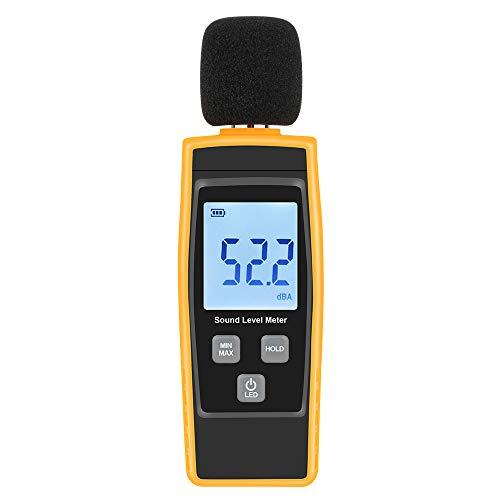 W-Unique Schallpegelmessgerät, 30~130 dB Dezibel Geräuschmessung-Tester mit Hintergrundbeleuchtung, digitales LCD-Display für den Innen- und Außenbereich [Max/Min/Hold-Funktion]