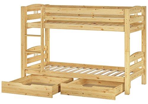 Erst-Holz® Stockbett Etagenbett Kiefer 90x200 Kinderzimmer Massivholzbett Rollrost Bettkästen 60.10-09 S2