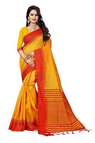 J B Fashion Women's Silk Yellow Saree With Blouse Piece