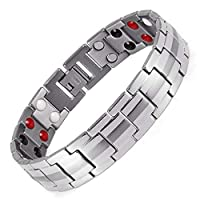 MEN BRACELETS STAINLESS STEEL HEALTH POWER ENERGY GERMANIUM MAGNETIC STONE