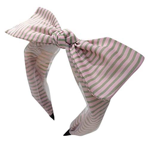Einfache Und Vielseitige Lady Candy Farbe Gestreiften Mesh Feine Seite Bow Dekoration Stirnband Haarschmuck Fairy SüßEs Lässige Datierung Partyzubehör Süß und charmant Kopfband (Einheitsgröße, Rosa)