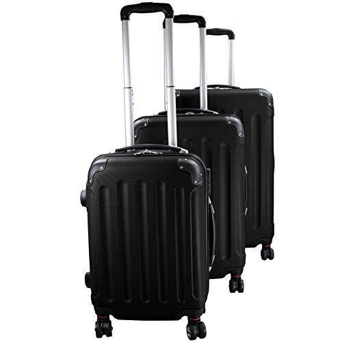 Set di 3 valigie rigidi trolley da viaggio experience 2.0 360° ruote doppie di bb sport set di 3 valigie rigidi trolley da viaggio experience 2.0 360° ruote doppie, colore:diamond black