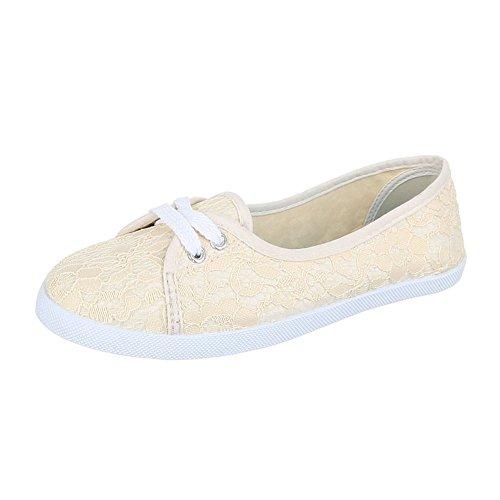 Leichte Damen 63 Schuhe Halbschuhe Slipper F Beige 4OBIaqwx