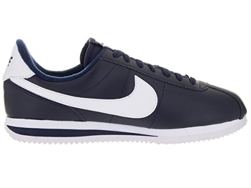 Nike Mens Cortez Basic Leather Trainers Obsidian/White/Metsllic Silver