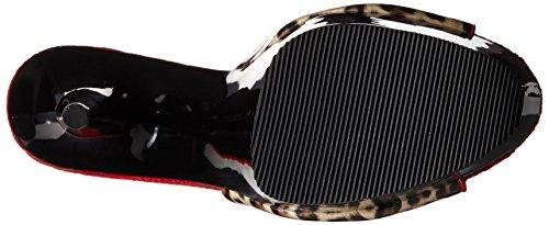 Pleaser DELIGHT-601-6 Damen Leo Print Plateau Pantolette Tan Leopard Print Faux Leather/Blk