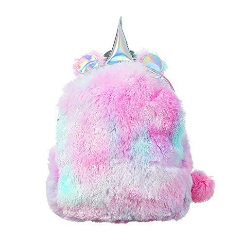 HCFKJ Tasche, Frauen-Mädchen-Schlag-Farben-Rucksack-Student-Normallack-Reise-Schulcrossbody-Tasche (One Size, Pink)