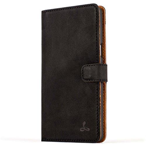 Snakehive® Vintage Collection Samsung Galaxy A5(2016) Vintage-Brieftaschen-Etui aus Nubukleder mit Kreditkarten-/ Banknotenfach (Schwarz)