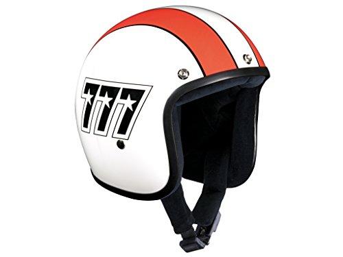 Bandit Helmets Jethelm 777 Jet, Motorradhelm mit Sonnenschild, Sports-Farbe:white red;Größe:M(57-58cm)