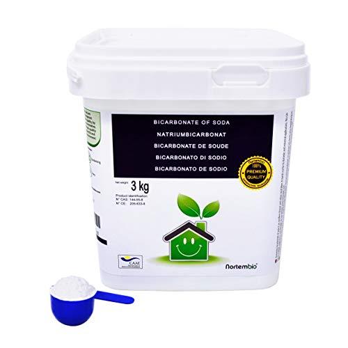 NortemBio Bicarbonato de Sodio 3 Kg, Insumo Ecológico de Origen Natural, Libre de Aluminio, Producto CE.