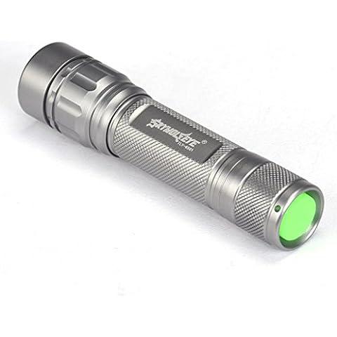 RETUROM Lámpara foco 3000 lúmenes 3 modos CREE XML T6 LED linterna 18650 antorcha potente (plata)
