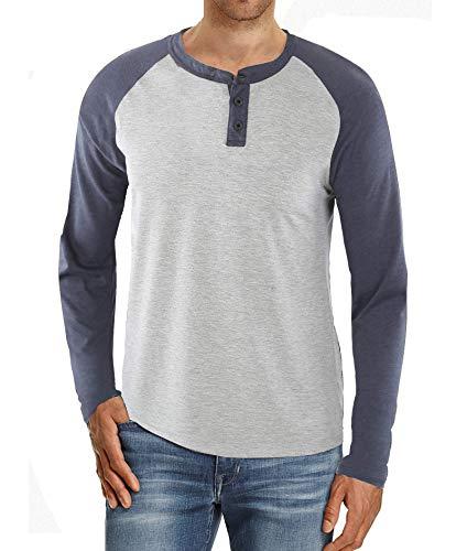 Kuson Herren Langarmshirt Henley Shirt Long Sleeve Shirt Men mit O-Ausschnitt Hellgrau XL