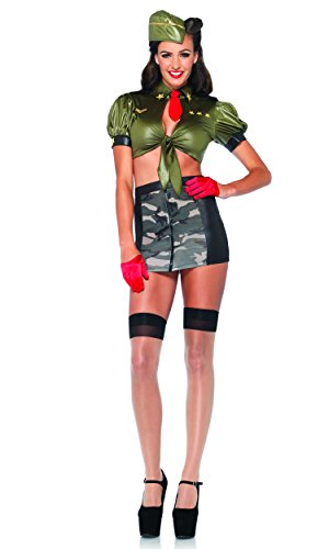 Leg Avenue - Pinup Militär Corporal Kostüm - Kadettin Army Outfit in grün mit Camouflage Rock (Pin Up Outfit)