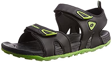 Lotto Men's Rody Black and Lime Rubber Sandals and Floaters - 7 UK/India (41 EU)