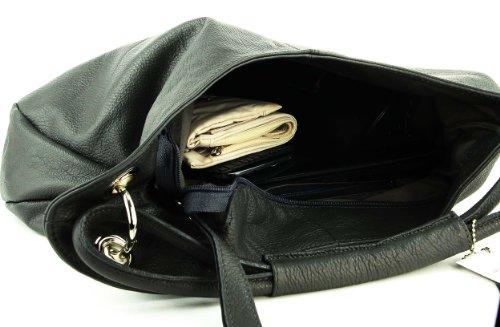 con manici borsa Vera Shopper Borsa a borsa Borsa tracolla 42x26x10 MADE borsa Pelle Schlamm BxHxT ITALY cm Chiaro IN in OBC Marrone pelle Grigio Donna wxp6qOxZ