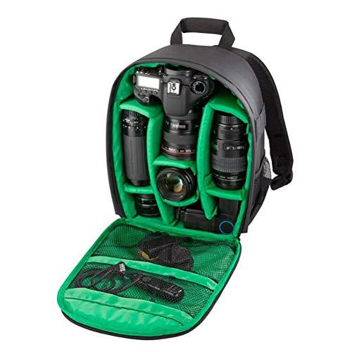Custodia zaino professionale per fotocamera - impermeabile antiurto 13,9 * 10,5 * 4,9 pollici con supporto per treppiedi e tasca esterna per dslr, fotocamera mirrorless, flash o altri accessori,green