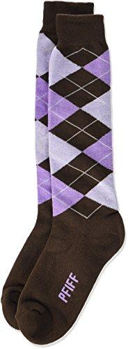PFIFF Damen Reitstrumpf Kariert, Medium Brown/lilac, 34-36, 100322-147-34