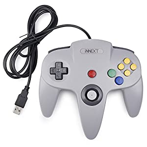 iNNEXT N64 Controller grau,Classic N64 USB Game Gamepad N 64 PC-Controller Joystick Für Windows Mac PC Raspberry Pi