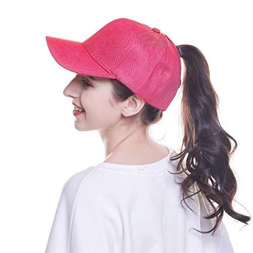 WELROG Dame Baseball Kappe Hip-Hop-Hut Verstellbar Baumwolle Pferdeschwanz Cap (Rot #2) - Frauen Hut -
