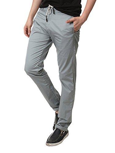 Homme pantalon jogging Sarouel tissu fin en coton taille élastique pour l'été 4 coloris Gris