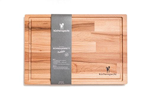 Schneidebrett Holz Gross | Schwebe-Effekt | 35x24x1,7cm mit Saftrille | Antibakterielles Frühstücksbrett aus Europa (Bambus-schneidebrett 24)