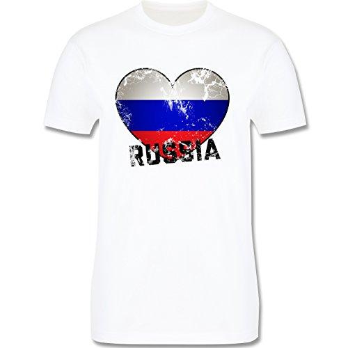 EM 2016 - Frankreich - Russia Herz Vintage - Herren Premium T-Shirt Weiß