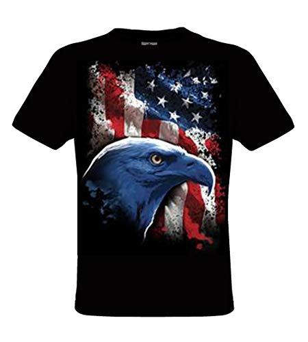 DarkArt-Designs American Eagle - Adler T-Shirt für Herren - Tiermotiv Shirt Wildlife Lifestyle Regular fit, Größe M, schwarz (Eagle Kinder American)