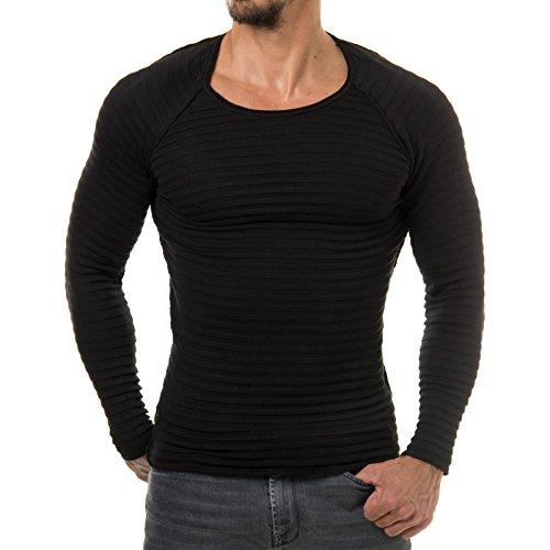 EightyFive Herren Pullover Feinstrick Streifen Weiß Grau Schwarz EF1699 Schwarz