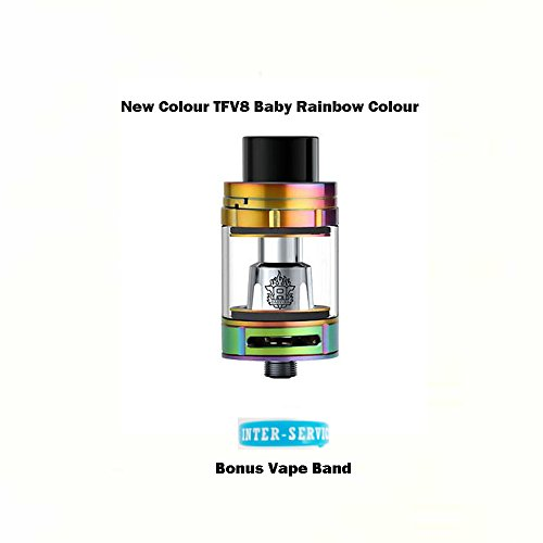 ORIGINAL SMOK TFV8 BABY TANK THE BABY BEAST 2mL Sub Ohm Tank (RAINBOW) GENUINE with Extra Vape Band