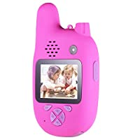 كاميرا أطفال مع جهاز واكي توكي، Andoer 8MP كاميرا فيديو للأطفال بعدسات مزدوجة 2. 0 بوصة IPS وضع التركيز التلقائي للموسيقى ووضع اللعبة للبنين والبنات والأطفال (وردي)