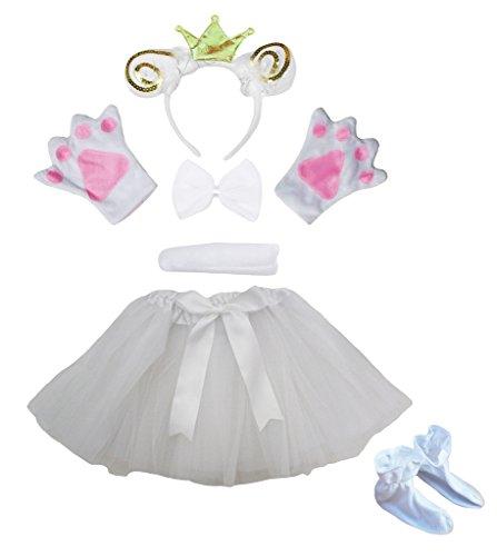 Schafe Geburt Kostüm - Petitebelle Gold Schafe Prince Stirnband Tie Handschuhe Tutu Schuh 6pc Mädchen-Kostüm-Set Einheitsgröße Weiß
