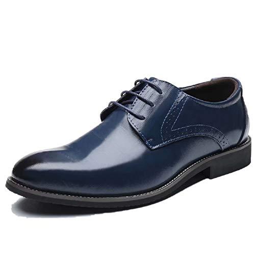 Scarpe Uomo Pelle, Brogue Stringate Derby Basse Oxford Vintage Verniciata Elegante Sera Nero Marrone Blu Rosso 37-48EU BL40