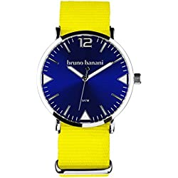 Bruno Banani BR30059 Cool Colour Unisex Analogue Watch Fabric Strap / Metal 50 m Yellow