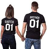 Brother Sister T-Shirts Pärchen Tshirt Set mit Aufdruck 01 Baumwolle Paar Shirts für Liebespaar Schwarz 2 Stücke