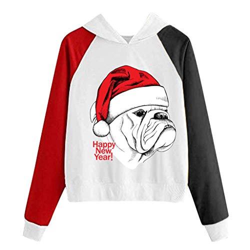Andouy Damen Weihnachten Raglan Langarm Patchwork Pullover Sweatshirts Hoodie Oberteile(L.Schwarz-9)