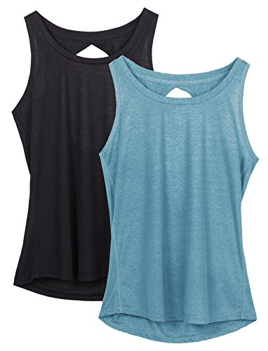 icyzone Damen Yoga Sport Tank Top - Rückenfrei Fitness Shirt Oberteil ärmellos Training Tops (L, Black/Blue) (Bh Tank-top Shirt)