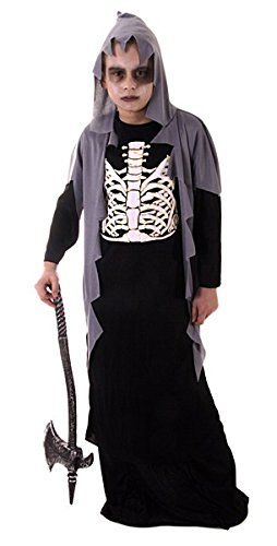 Skelett Sensenmann Kinder Kostüm Halloween Verkleidung Outfit 4 - 12 Jahre - 4-6 Jahre (Kostüm Sensenmann Scary)