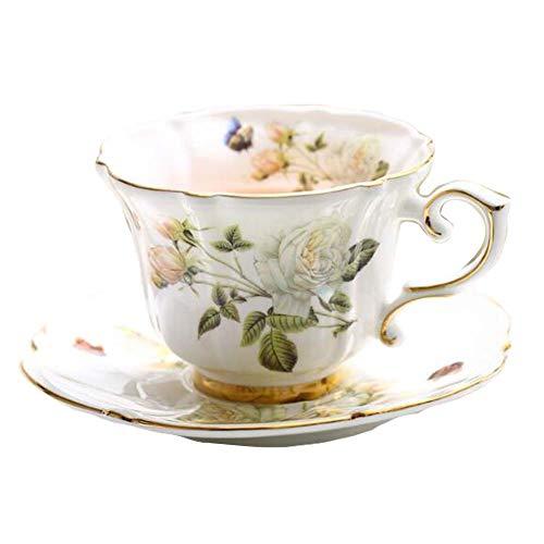Pigeon Fleet White Rose European Style Porzellan-Teetasse mit Untertasse für Nachmittagstee, 7,4 oz Japan China White Rose