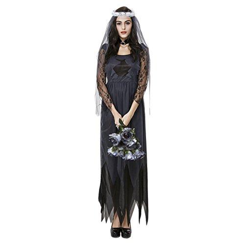 Damen Geisterbraut Kostüm cosplay Kostüme Halloween Abendkleid Damen Zombie Horror (Vampir Kostüme Bilder Mädchen Von)
