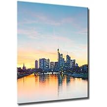 Bild auf Leinwand Frankfurt Sky Größe: 60cm x 80cm | Frankfurt Skyline Spiegelung Wasser Mainhattan Sonnenuntergang FRA | | Farbe: rot | Rubrik: frankfurt + Städte