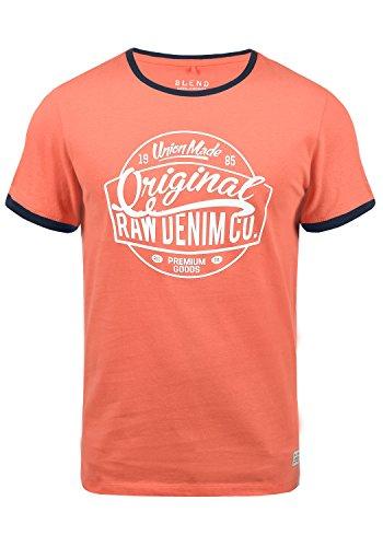 Blend V-neck T-shirt (Blend Malex Herren T-Shirt Kurzarm Mit Rundhalsausschnitt Aus 100% Baumwolle, Größe:XXL, Farbe:Coral Sea Red (73828))