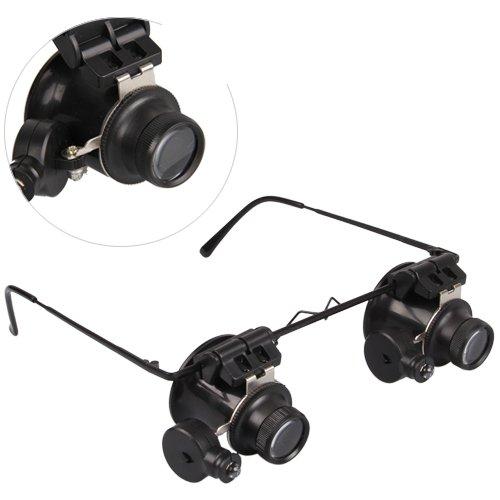 20x Gafas de aumento con monóculos de lente doble y luz lateral, para orfebrería y joyería